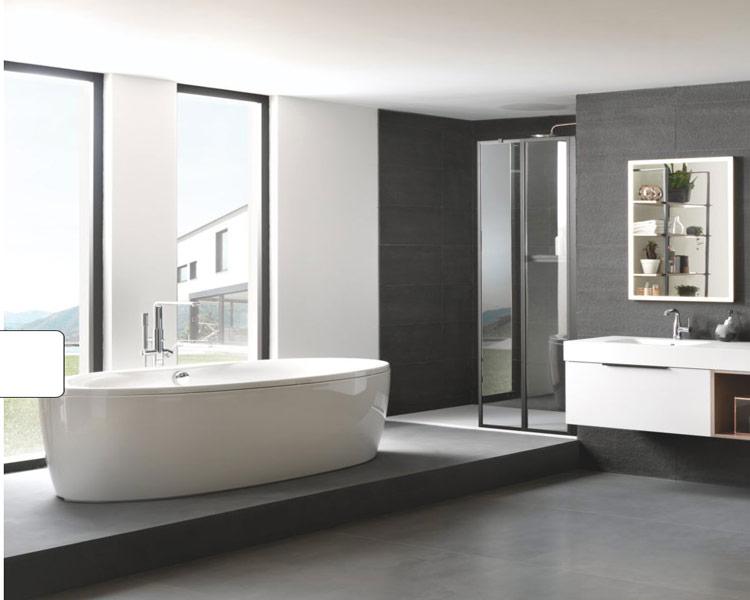 meuble de salle de bains design blanc et beige