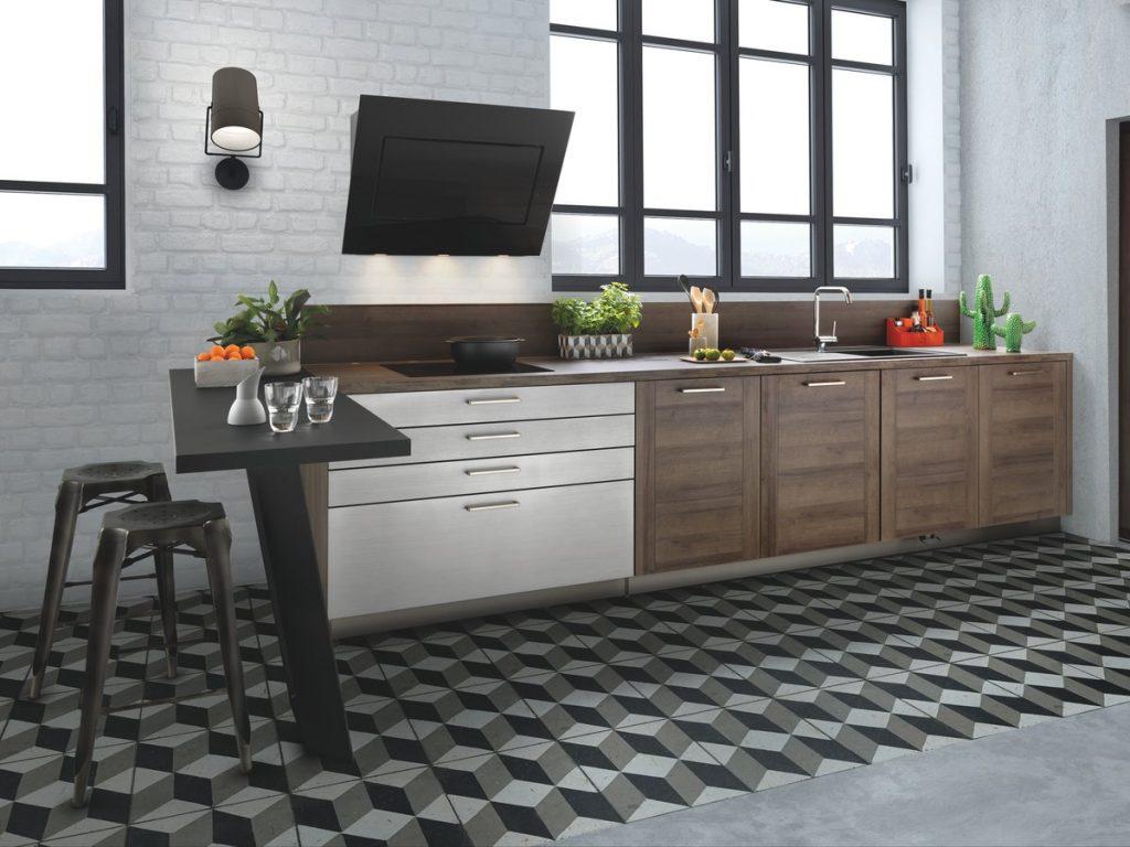 Vue de la cuisine Groove, coloris marron avec le plan snack au premier plan.