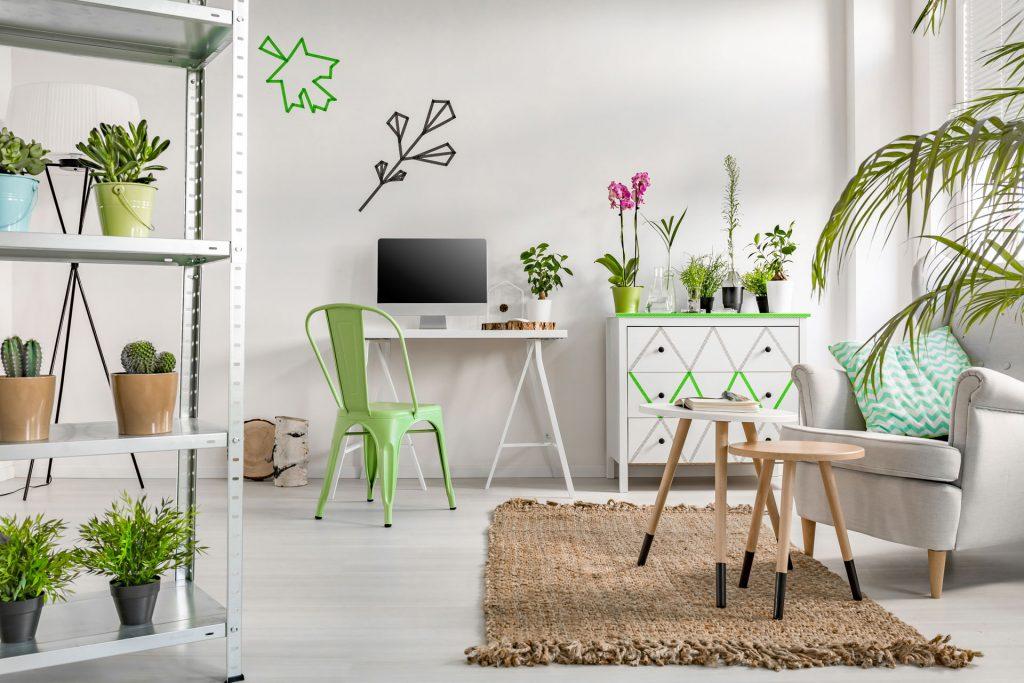 Espace décoré avec des plantes vertes, une chaise en métal verte, un bureau, une commode à motifs géométriques, une étagère, deux tables basses design et un fauteuil.