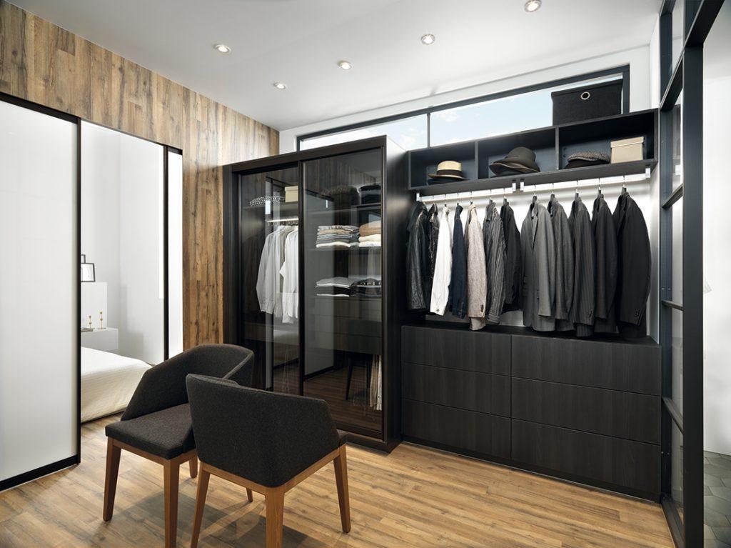 Vue de la partie homme du dressing Mr and Mrs ; dressing gamme Arcos, coloris noir effet bois Zonza et gris clair Celest.