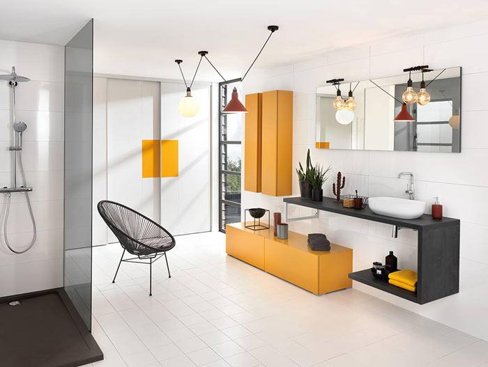 meuble de salle de bains jaune moutarde