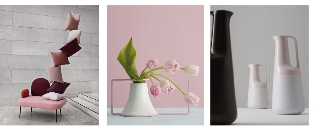 Composition de trois photos d'objets de décoration et mobilier de l'éditeur de mobilier Bolia.