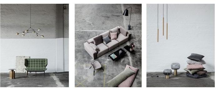 Composition de trois photos d'objets de décoration et mobilier de la marque de mobilier design Norr11. À gauche, le sofa Mammoth; au milieu, le canapé Madonna et à droite, deux lampes en verre et une pile de coussins.