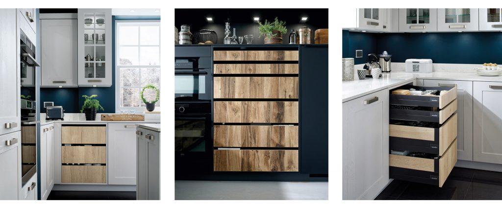 Trois photos de Buffets-Déco: deux vues de face et une vue latérale avec les blocs et les tiroirs ouverts, coloris marron clair effet bois Murphy et décor bois Harvey.