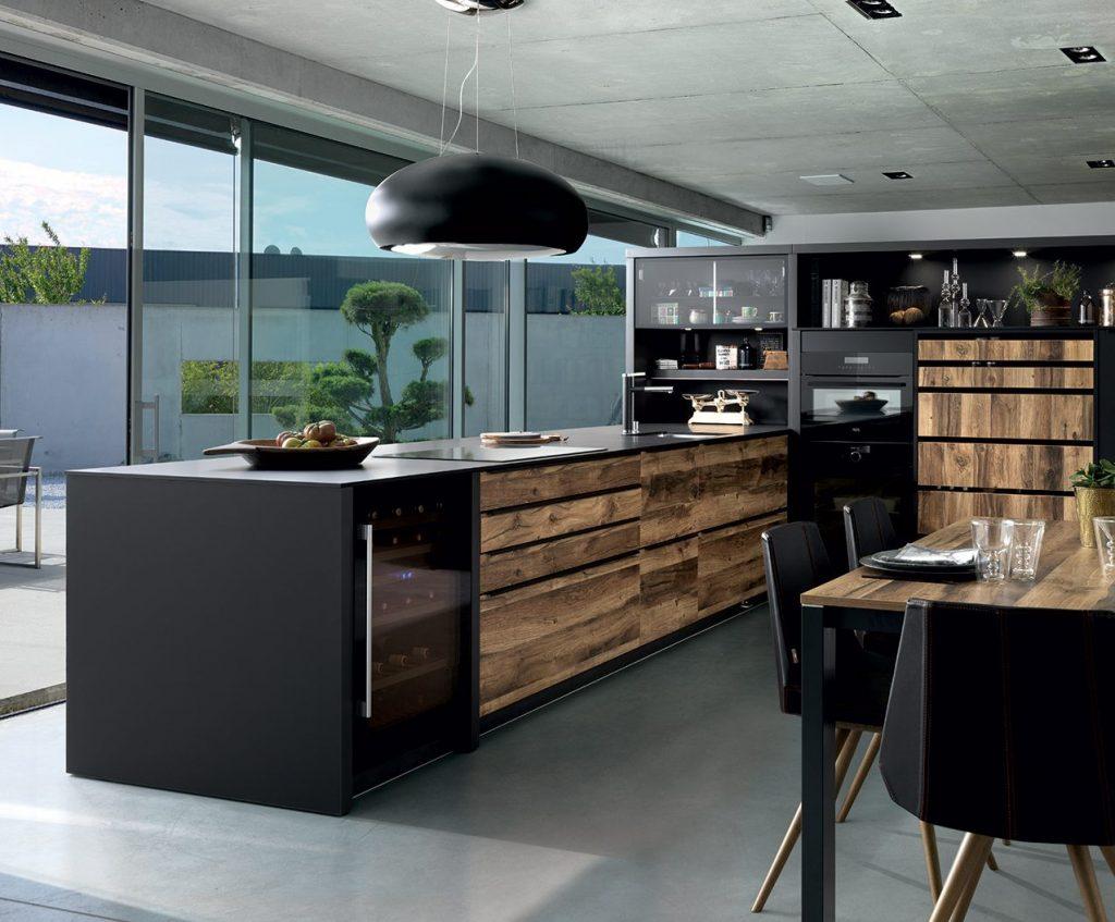 Meuble Noir Et Bois Idees Deco Cuisine Dressing Salon