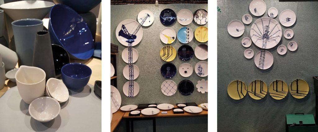 Composition de trois photos avec des assiettes exposées sur les murs créant des fresques, des tasses et des plats des marques Faïencerie Georges, Mud Australia et Novità Home.