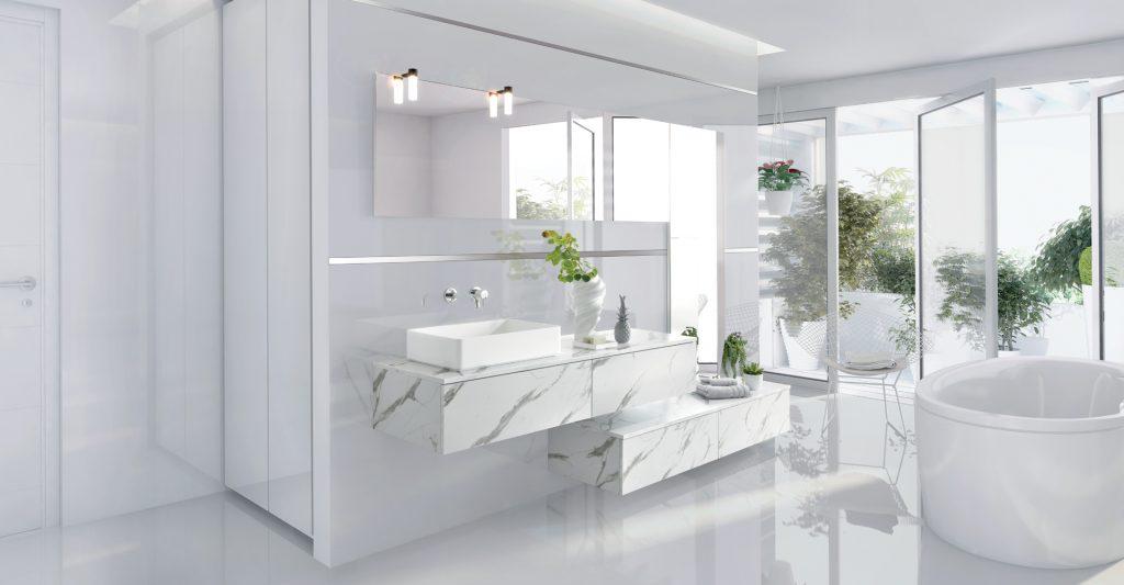 Vue en biais de la salle de bains Arcos Edition coloris gris clair marbré avec l'ensemble bain destructuré et la baignoire ovale.