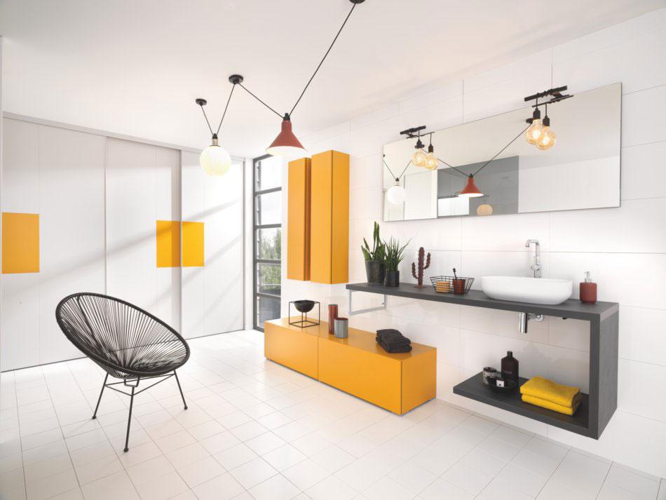 meuble de salle de bains design jaune moutarde