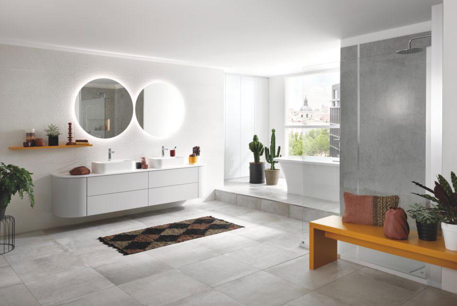 meuble de salle de bains zen blanc et gris