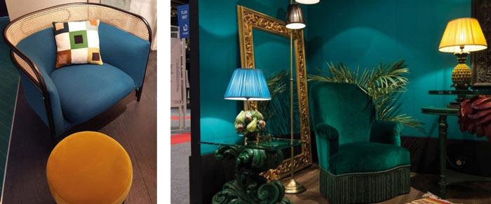 À gauche, fauteuil tissu et rotin bleu paon avec son pouf jaune moutarde de Antonio Lupi et à droite, fauteuils velours et ambiance tropicale de Judeco.