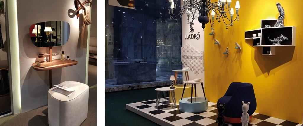 À gauche, étagère et miroir de Nomon, et à droite, fauteuils et tables d'appoint de Lladró, marque de design de porcelaine.
