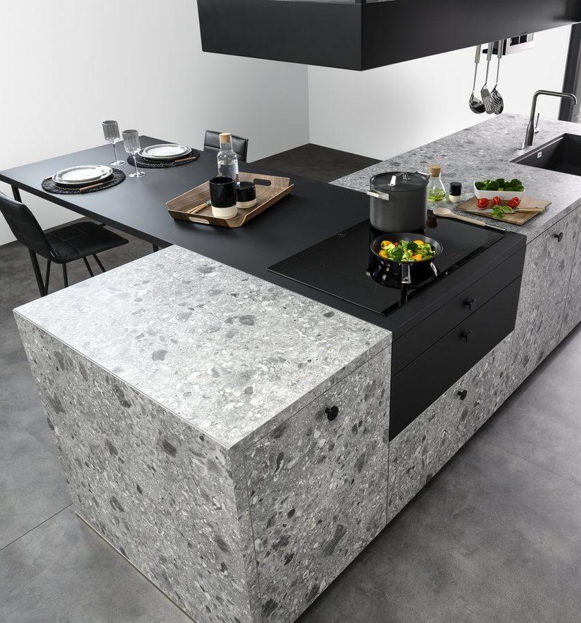 Îlot central avec table bar intégrée.