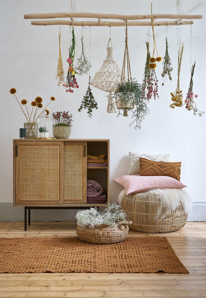 rangement en rotin, décoration d'intérieur