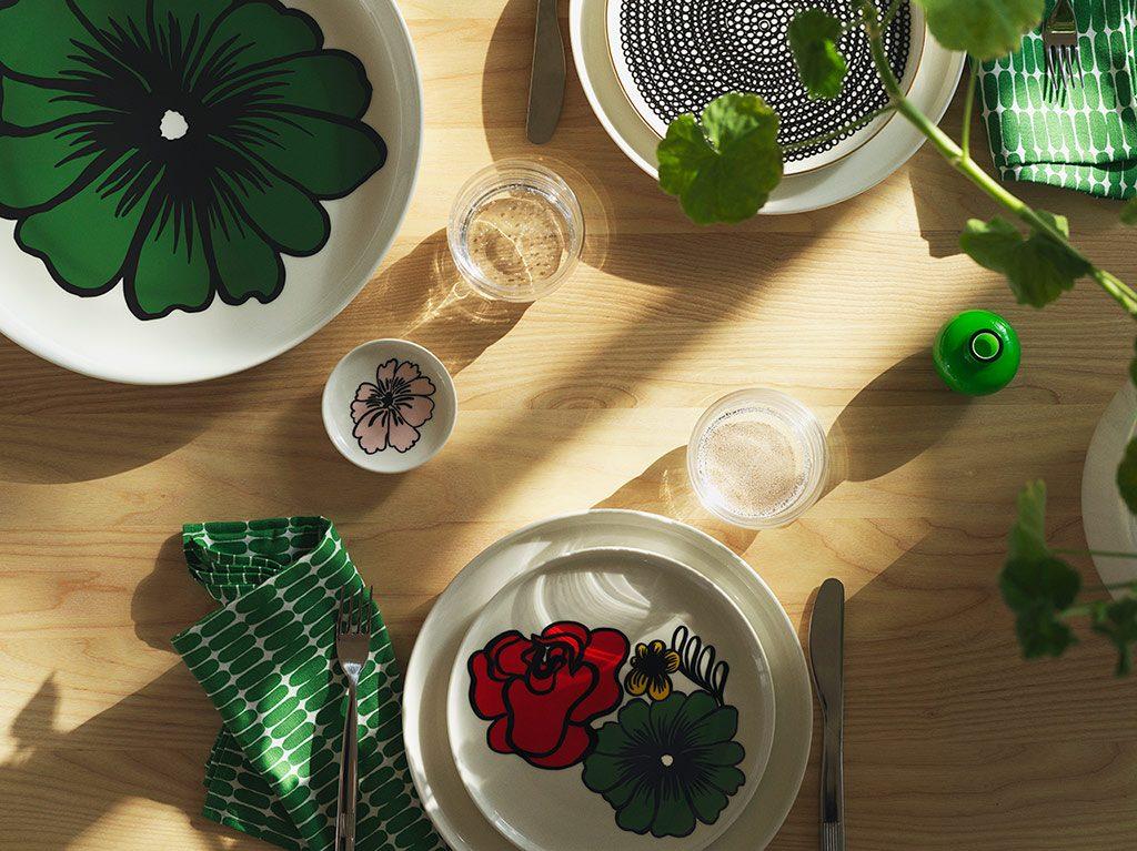service Oiva avec motifs vert, décoration d'intérieur