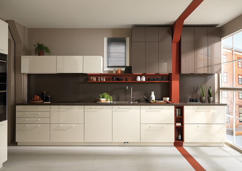 cuisine équipée moderne blanche rouge grise en L sur mesure