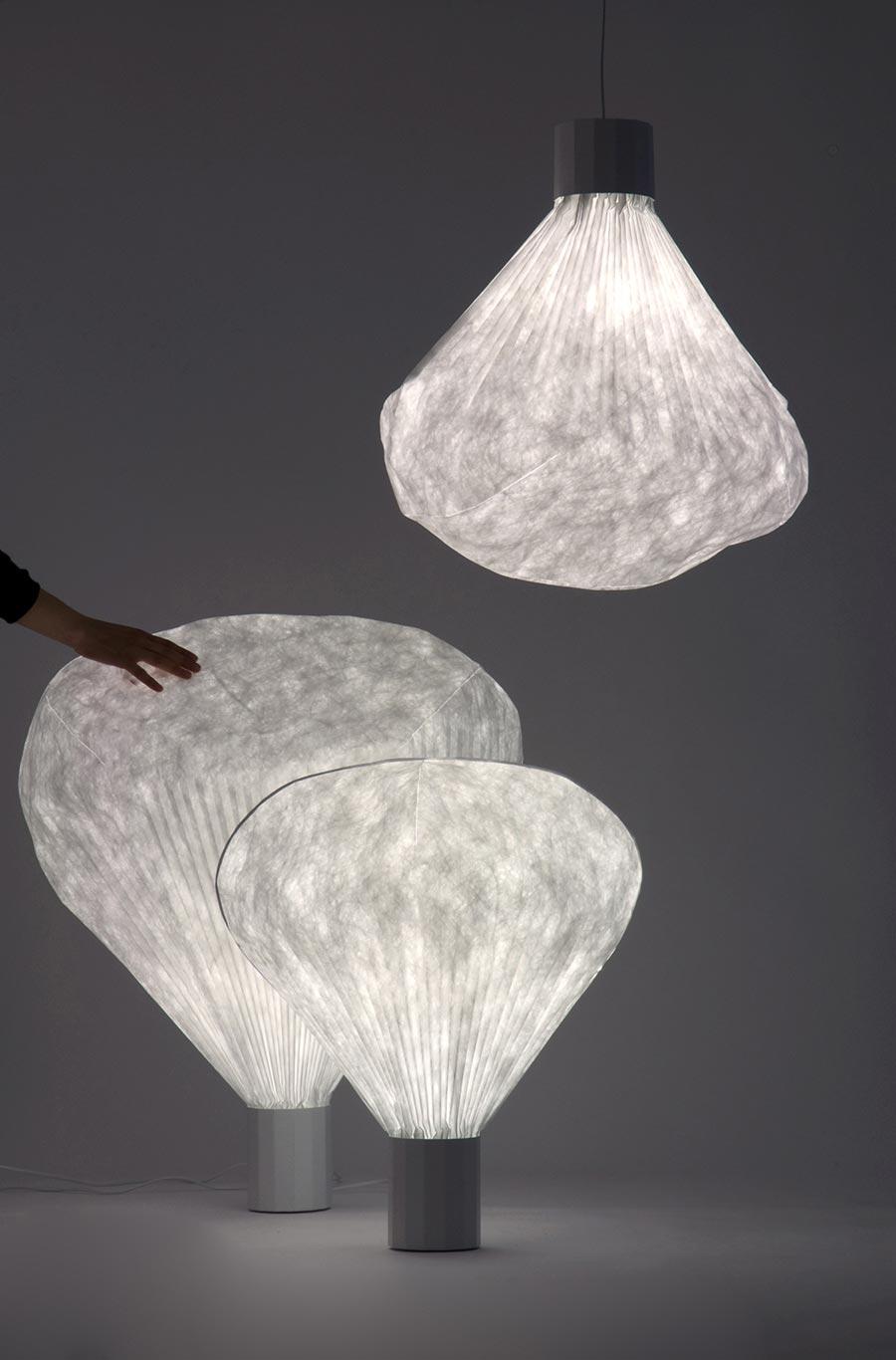 lampes design avec technique de plissage