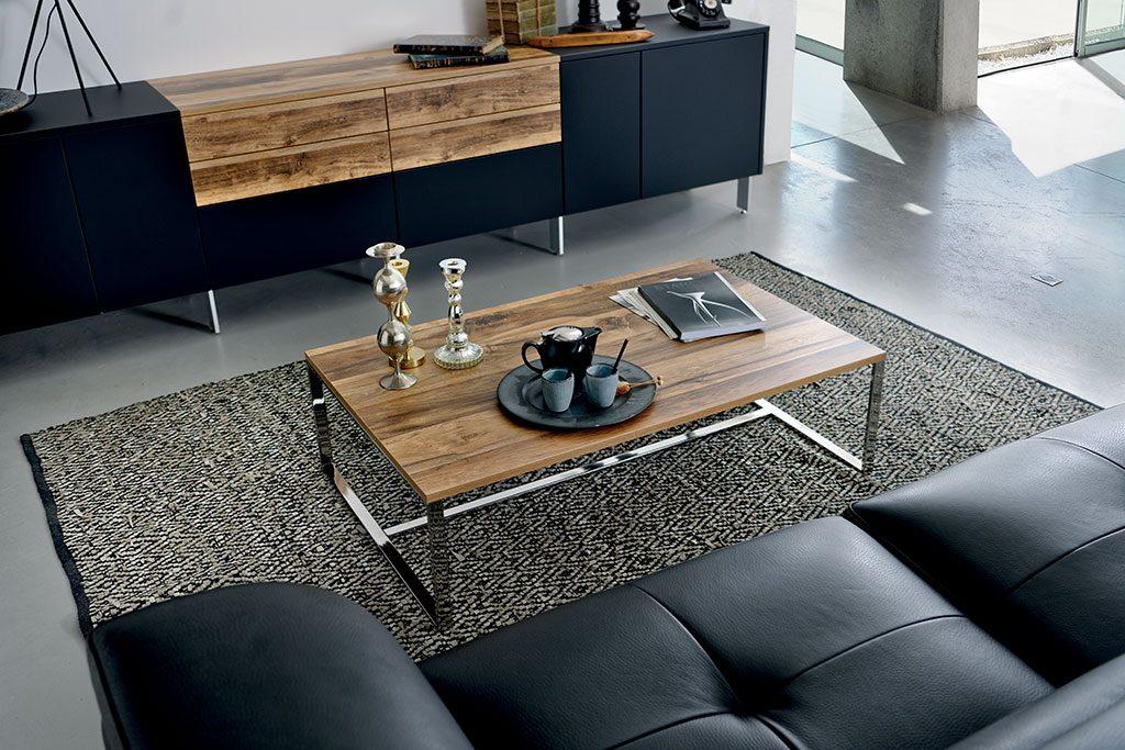 meuble de rangement sur mesure noir et bois pour salon