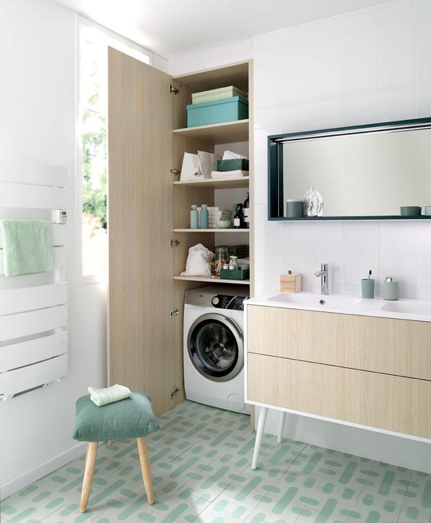 meuble de salle de bains blanc et bois moderne