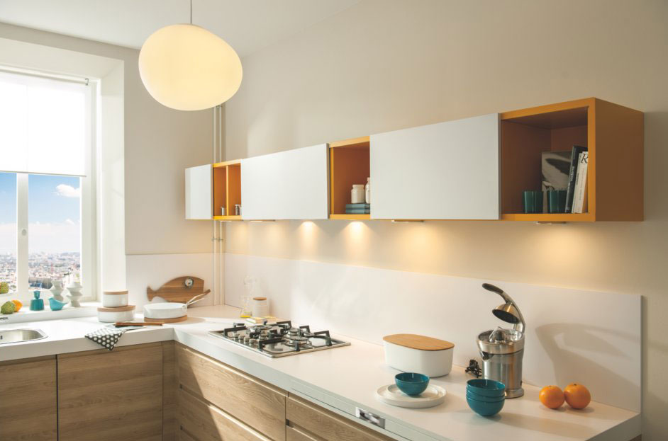 meuble hotte avec les éclairages LED en applique