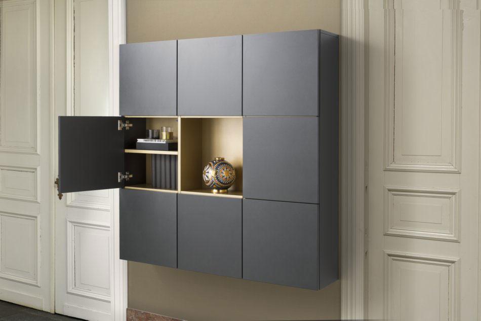 meuble d'entrée design noir et or