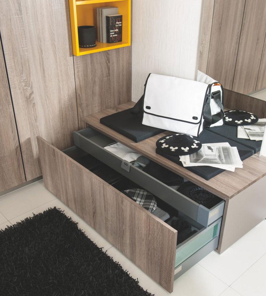 meuble d'entrée design ouvert, rangement sur mesure