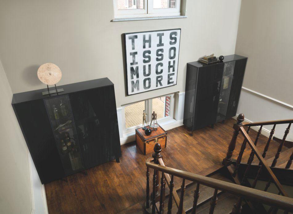 meuble d'entrée avec vitrine sur mesure