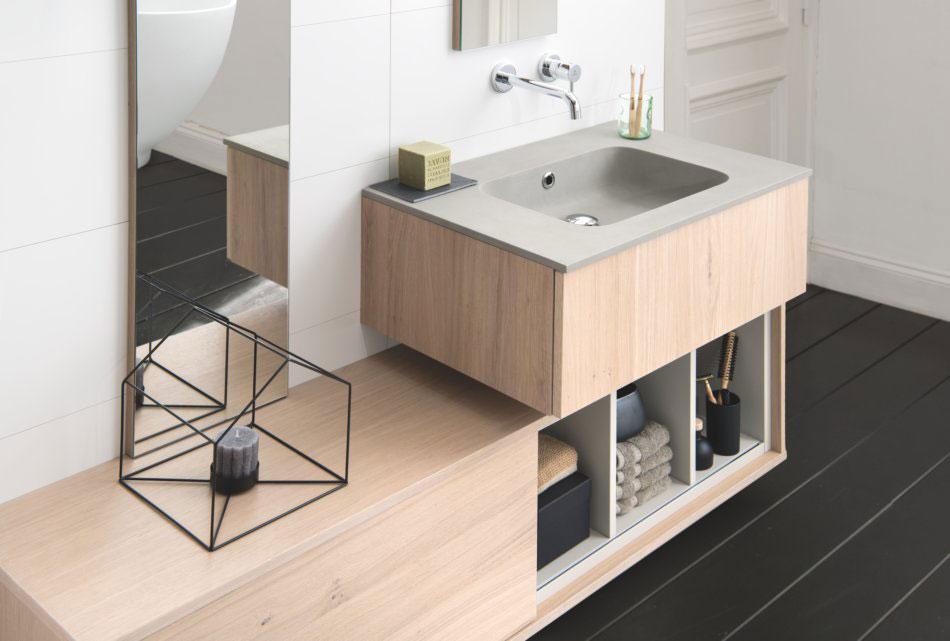 meuble de salle de bains en bois style zen