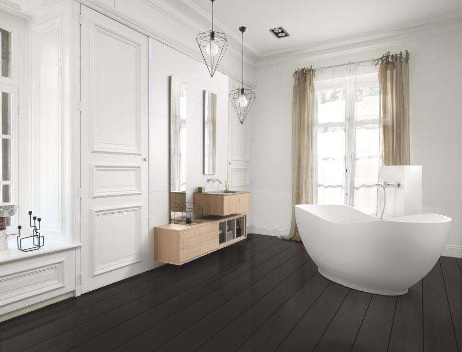 meubles de salle de bains en bois style zen