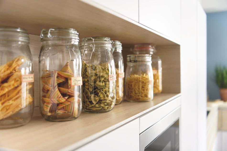 niche de cuisine pour bocaux et rangement alimentaire