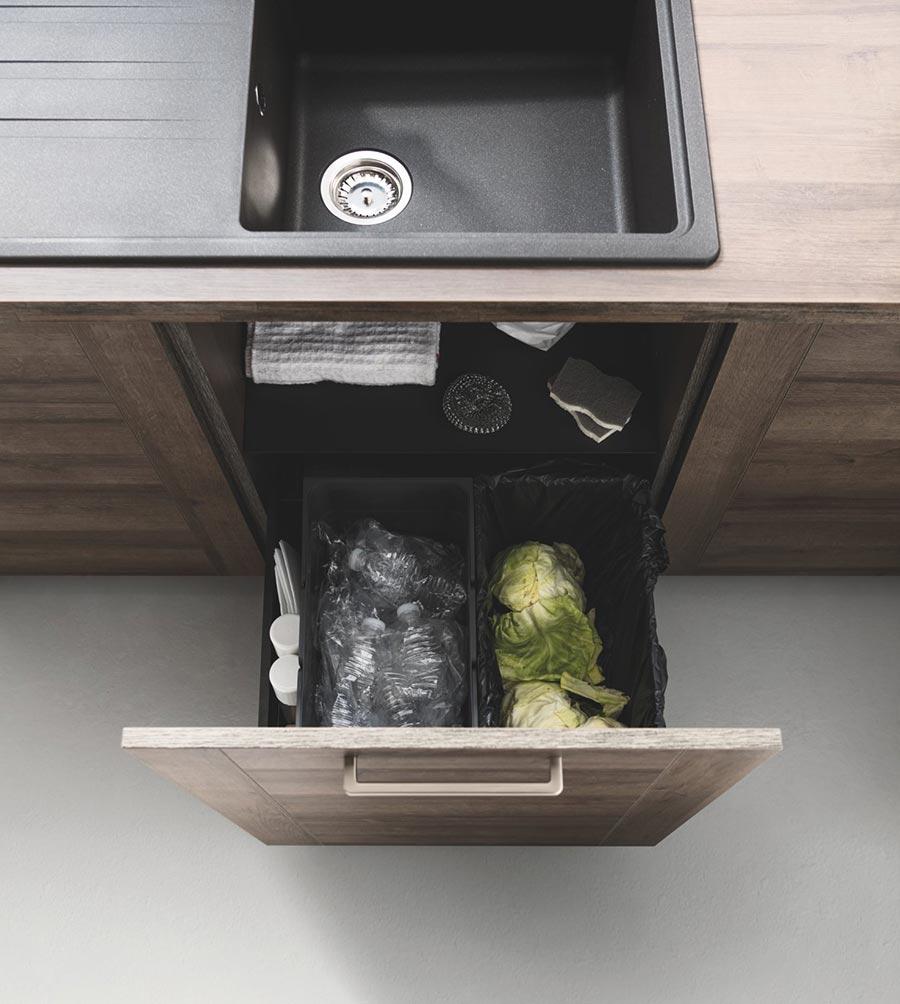 poubelle à multiples compartiments sous évier
