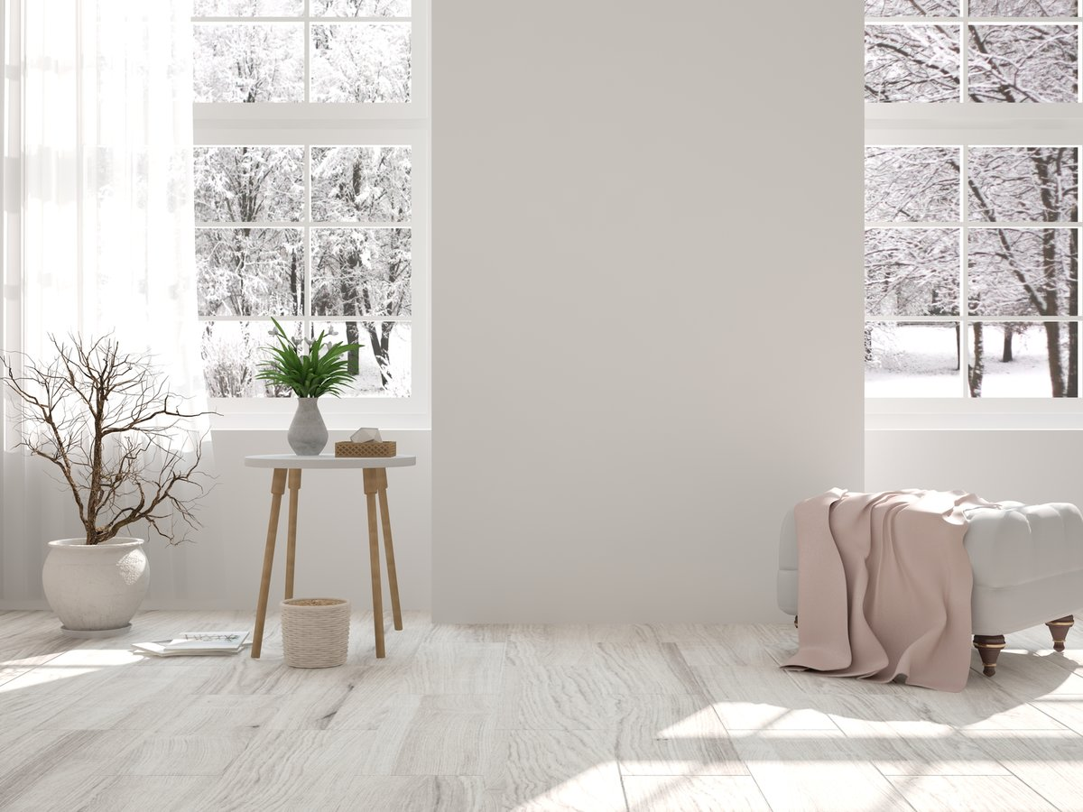 Ambiance enneigée espace salon simple et épuré
