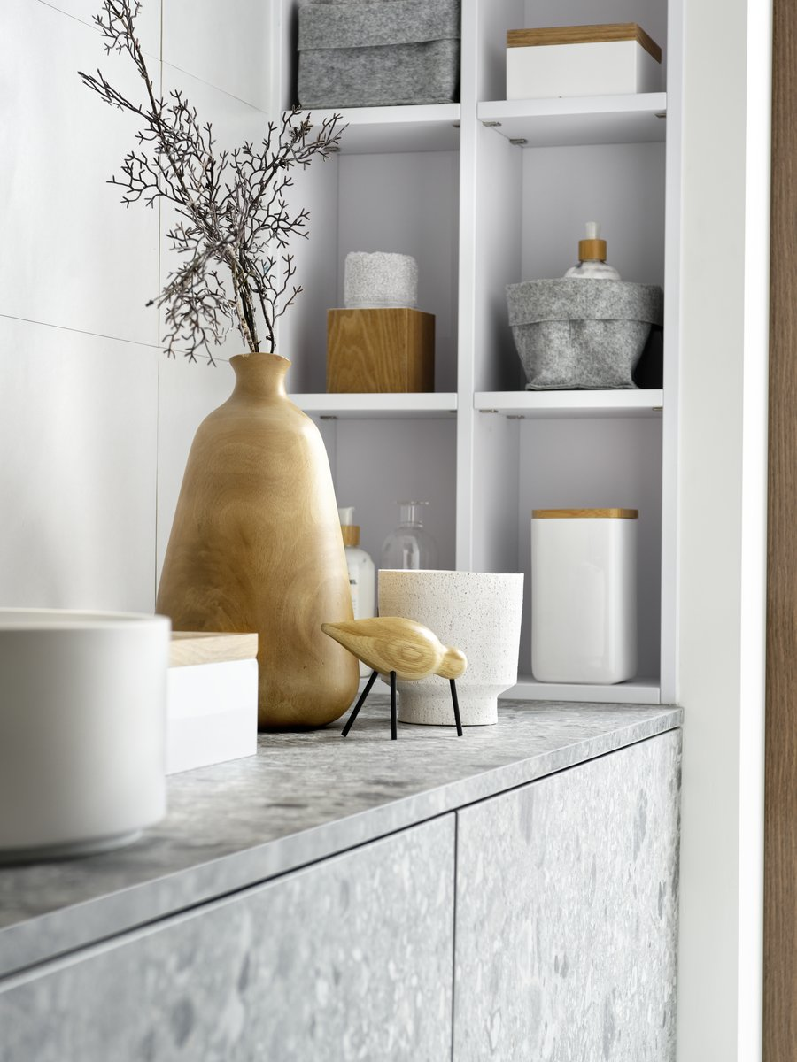 Plan de toilette, effet pierre minérale Terrazzo