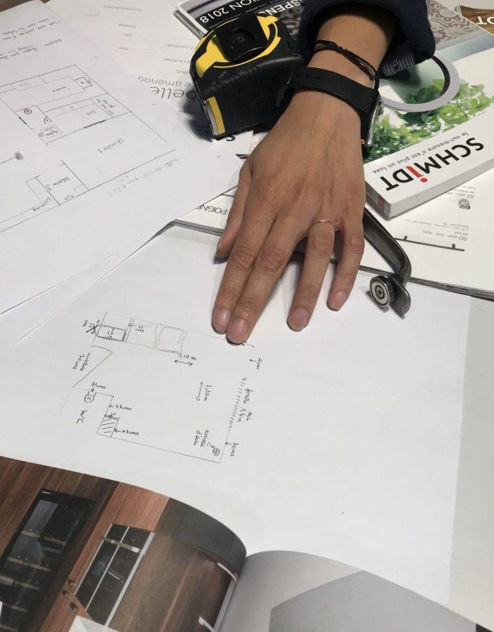 Prises de mesures et conception du plan en croquis.