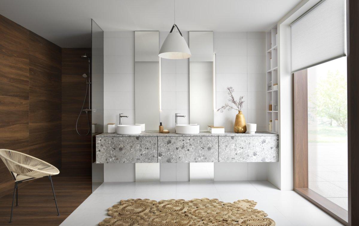 Salle de bain gris terrazzo