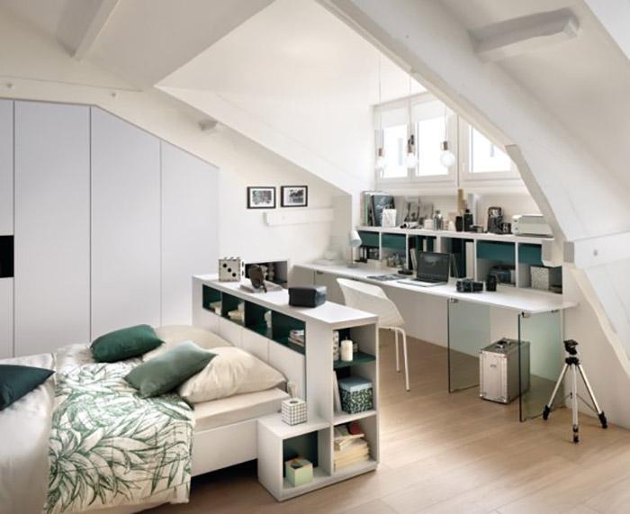 Vue d'ensemble, tête de lit et bureau et vert et blanc