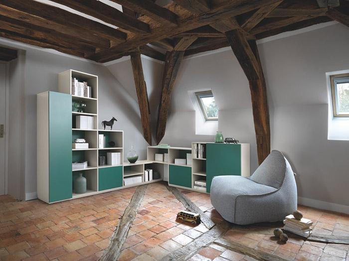 Bibliothèque d'angle verte et blanche
