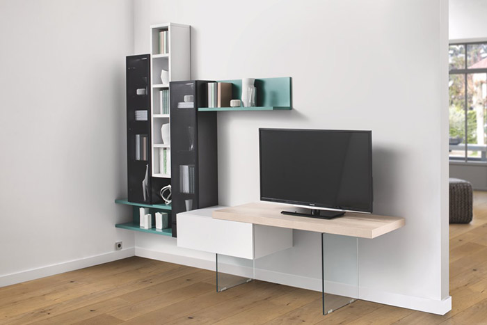 Meuble TV avec étagère verte
