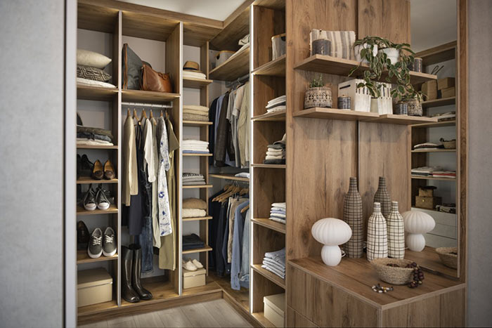 dressing petite chambre en panneaux mélaminé aspect bois
