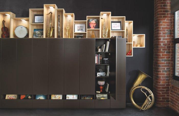 Bibliothèque en mélaminé vintage avec niches éclairantes