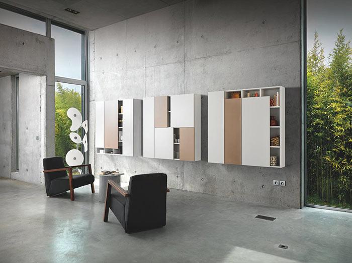 Ces meubles design suspendus sont en mélaminé et ont 3 configuration différentes