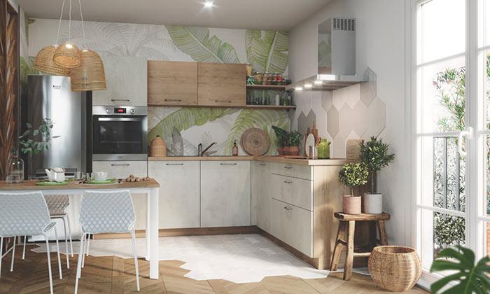 Cuisine beige et bois en L avec motif végétal sur mur