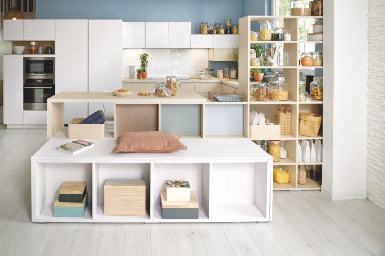 Etagère bibliothèque avec banc double face séparation cuisine