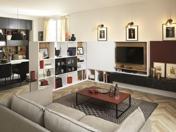 Bibliothèque et meuble cache TV avec façade coulissante
