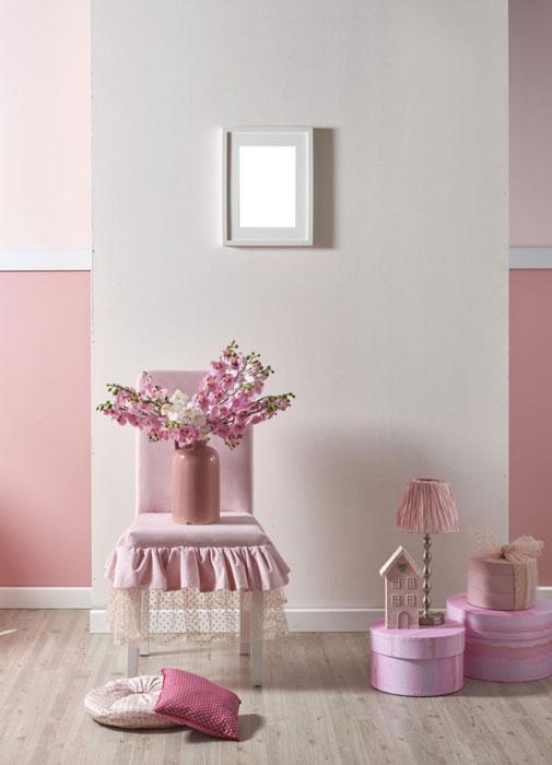 Calme et sérénité en rose et blanc. Idéal dans une chambre d'enfant.
