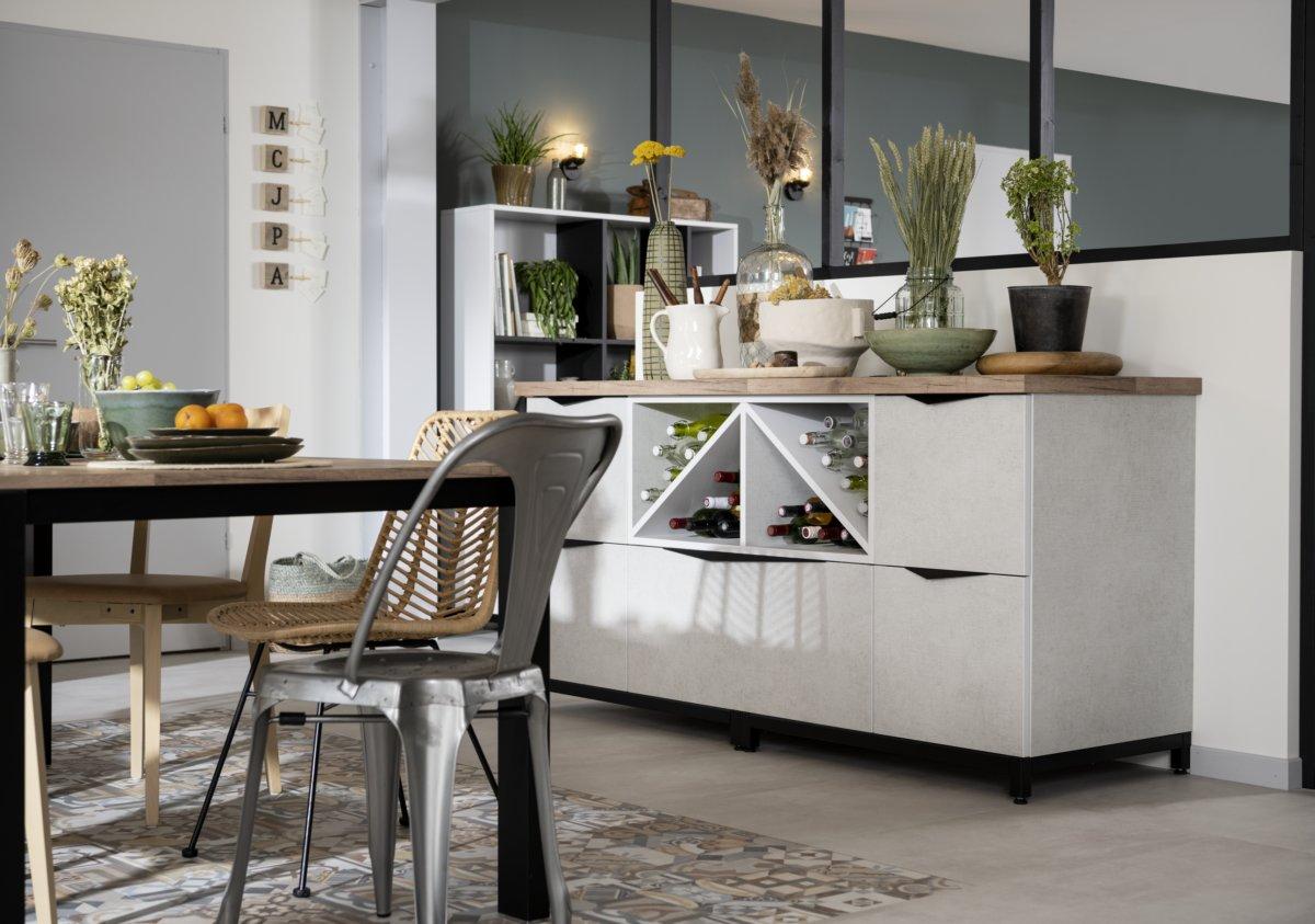 meuble range bouteilles en croisillon avec des façades 100% recyclées
