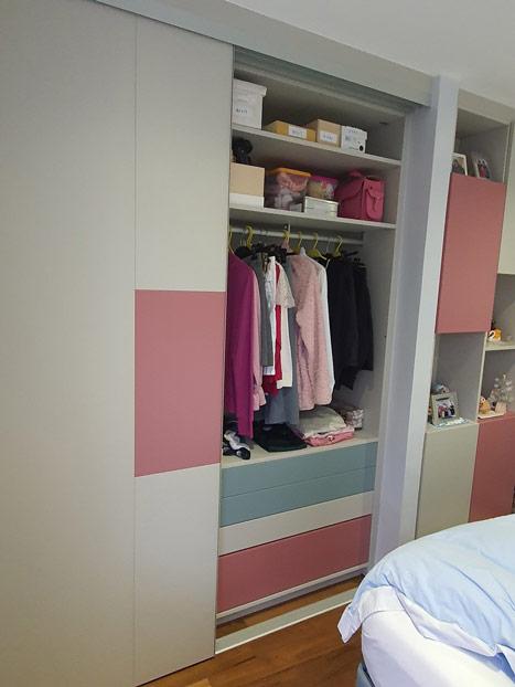 Dressing chambre coloris rose Pashmina et vert clair. Crédit photo : ©Schmidt Wimbledon (UK)