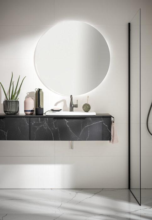 Meuble de salle bain effet marbre noir