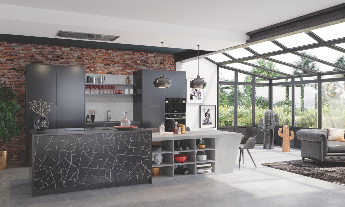 cuisine ouverte sur le salon avec en motifs style block
