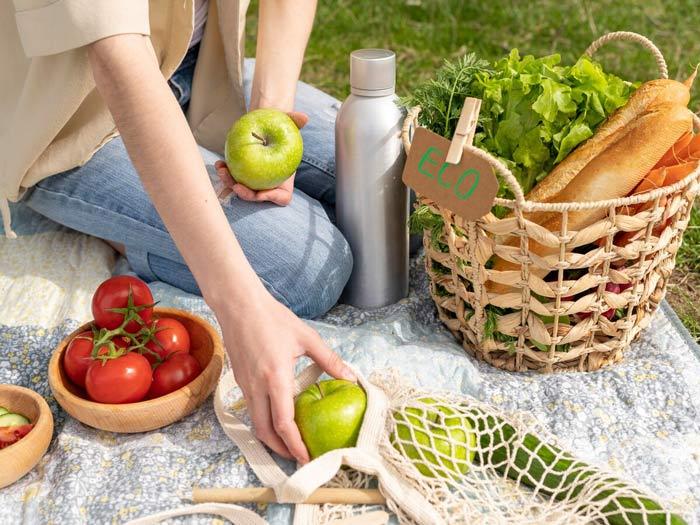 Slow food : panier contenant un repas seins construite de fruits et légumes