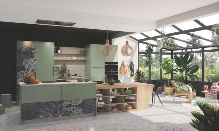 Cuisine ouverte sur le salon avec impression digitale